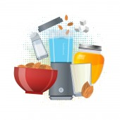 Almond milk vector concept Composition made of ingredients