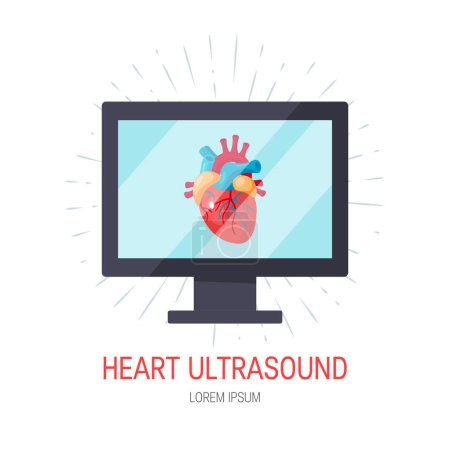 Illustration for Heart ultrasound concept. Vector illustration for medical articles, posters, web banners etc. in flat style - Royalty Free Image