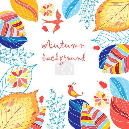 Illustration pour Automne fond multicolore avec des feuilles et des oiseaux - image libre de droit