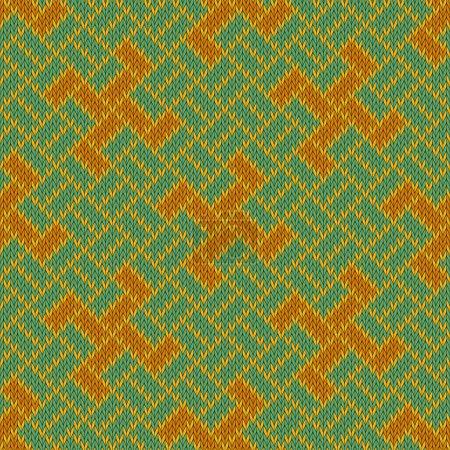Illustration pour Golden Yarga. Motif tricoté sans couture en laine - image libre de droit