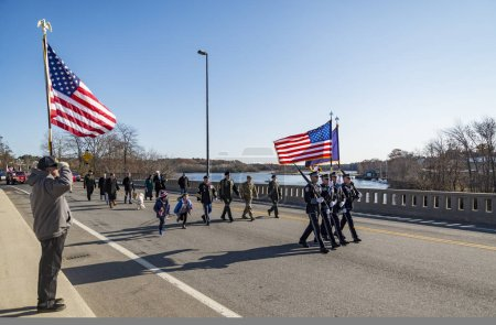 BIDDEFORD - NOVEMBER 12: Veterans and people participate in the Veteran Parade on November 12, 2018 in Biddeford-Saco Maine.