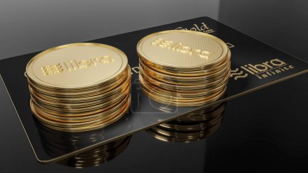 Photo for View of Libra black credit card GOLD and golden Libra coins placed on a black background. Project Libra conceptual design. 3D rendering. - Royalty Free Image