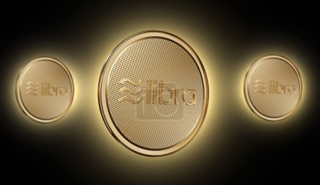 Photo for Concept of golden Libra coin with logo on front. New project of digital crypto currency payment. 3D render Coin placed on a dark gold background. - Royalty Free Image