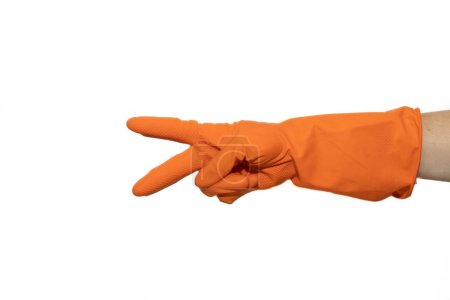 Photo for Rubber gloves for cleaning. Preparing for cleaning. Hands clean after cleaning. Squeaky people. Wash floors, wash dishes. Rubber gloves on the hand. Rubber gloves on a hand on a white background. - Royalty Free Image