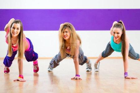 Dancer at fitness training in dance studio