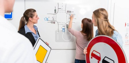Photo for Learner in driving lessons theory explaining traffic situation on white board - Royalty Free Image