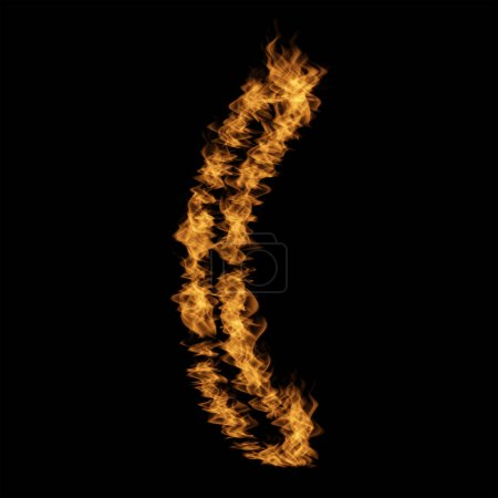 Conceptual hot fiery burning flame hook symbol made of blazing fire on black background.