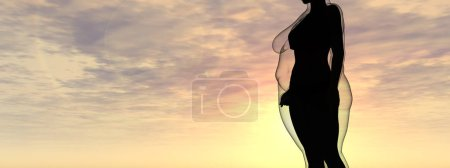 Photo for Conceptual fat overweight obese female vs slim fit healthy body after weight loss or diet with muscles thin young woman over sunset. Fitness, nutrition or fatness obesity, health shape 3D illustration - Royalty Free Image
