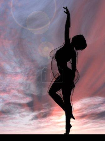 Photo pour Femme au coucher du soleil, obésité, santé, illustration et coucher du soleil - image libre de droit