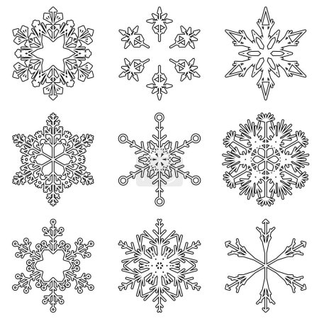 Vector collection of artistic icy abstract crystal snow flakes isolated on background as winter december decoration. Ice or frost beautiful star ornament silhouette