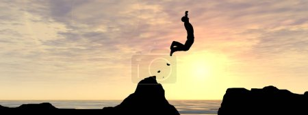 Photo for Concept or conceptual 3D illustration young man or businessman silhouette jump happy from cliff over water gap sunset or sunrise sky background banner - Royalty Free Image