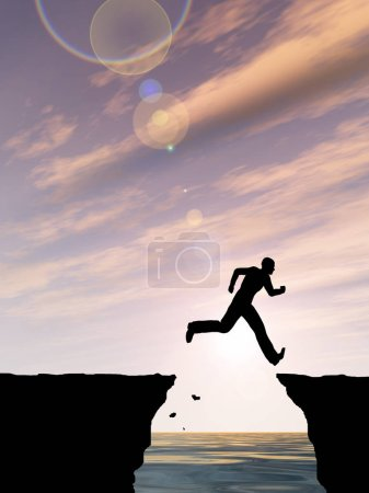 Photo for Concept or conceptual 3D illustration young man or businessman silhouette jump happy from cliff over water gap sunset or sunrise sky background - Royalty Free Image