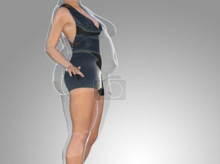 Photo for Conceptual fat overweight obese female vs slim fit healthy body after weight loss or diet with muscles thin young woman on gray. A fitness, nutrition or fatness obesity, health shape 3D illustration - Royalty Free Image