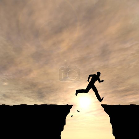 Photo for Concept or conceptual young 3D illustration man or businessman silhouette jump happy from cliff over  gap sunset or sunrise sky background - Royalty Free Image