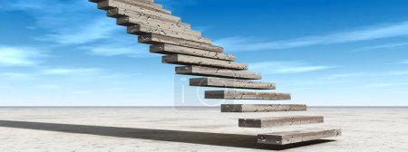 Concept or conceptual 3D illustration stair steps ...