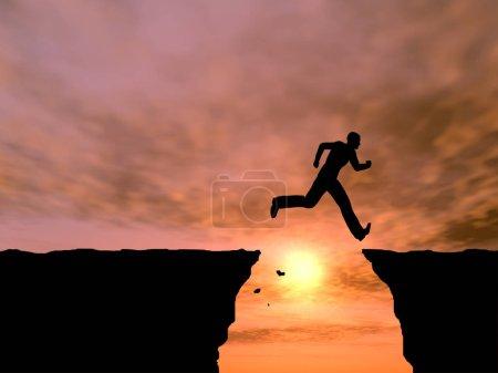 Photo pour Concept ou jeunes conceptuelles 3d homme illustration ou homme d'affaires heureux de saut de falaise de silhouette sur fond de ciel coucher de soleil ou lever de soleil gap - image libre de droit