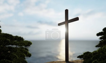 Photo for Concept or conceptual religious christian cross standing on rock in the sea or ocean over beautiful sunset sky. A background for faith, religion belief, Jesus Christ, spiritual church 3D illustration - Royalty Free Image