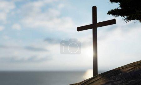 Photo pour Concept ou concept religieux croix chrétienne debout sur la roche dans la mer ou l'océan au-dessus du ciel magnifique coucher de soleil. Un arrière-plan pour la foi, la croyance religieuse, Jésus-Christ, église spirituelle illustration 3D - image libre de droit