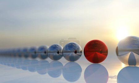 Photo for Concept or conceptual row of balls with a red one standing out on blue background as a metaphor for creativity, personality and independence A leadership, courage and action or success 3d illustration - Royalty Free Image
