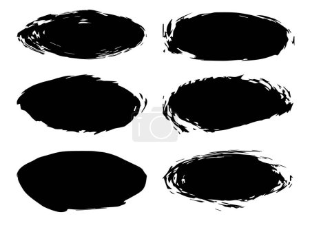 Photo for Collection or set of artistic black paint, ink or acrylic hand made creative brush stroke backgrounds isolated on white as grunge or grungy art, education abstract elements frame design - Royalty Free Image