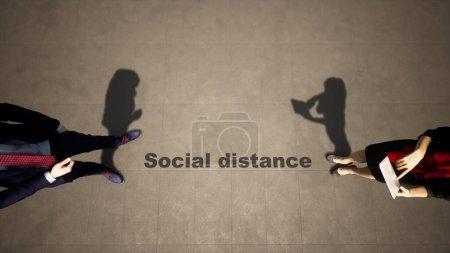 Photo pour Concept ou illustration 3D conceptuelle d'un homme à la femme se réunissant suivant les lignes directrices de distance sociale sur un fond de plancher en bois. Une métaphore pour le changement dans les relations d'entreprise pendant le lock-out. - image libre de droit