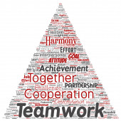 Vector conceptual teamwork management triangle arrow red partnership idea success goal word cloud isolated background Collage of business strategy group cooperation solution or team concept design