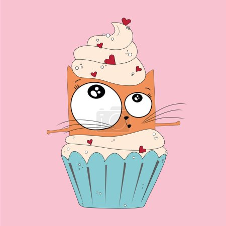 Photo for Vector sketch of a ginger cat flying and dancing in cupcake with cream on a pink background. - Royalty Free Image