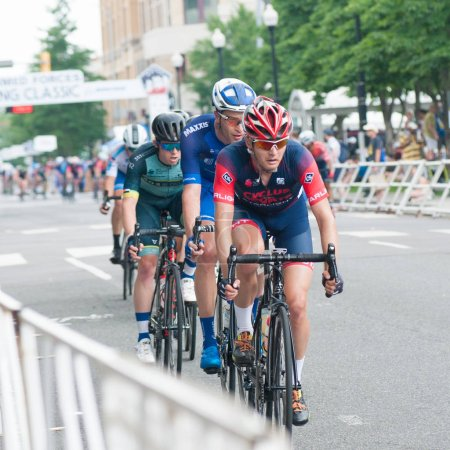Photo for ARLINGTON JUNE 9: Cyclists compete in the elite mens race at the Armed Forces Cycling Classic on June 9, 2018 in Arlington, VA - Royalty Free Image