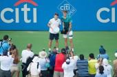 WASHINGTON  AUGUST 5: Alexander Sascha Zverev (GER) and Alex de Minaur (AUS) hold their trophies after Zverev's championship win at the Citi Open tennis tournament on August 5, 2018 in Washington DC