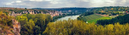 Photo for A panoramic view over the canyon and Malkoya Sandzhak village, Ruse region, Bulgaria - Royalty Free Image