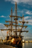 Malaga, Spain - December 26, 2017. 17th Century Spanish Galleon Replica in Malaga port, Spain.
