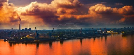 Photo for Pollution over the city, Ruse city, Danube river, Bulgaria - Royalty Free Image