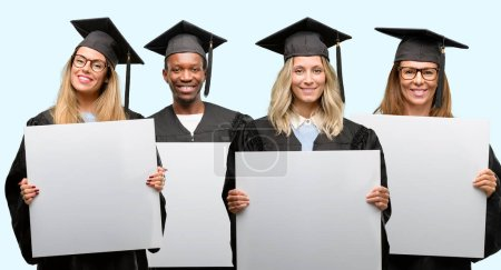 Education concept, university graduate woman and man group holding blank advertising banner, good poster for ad, offer or announcement, big paper billboard