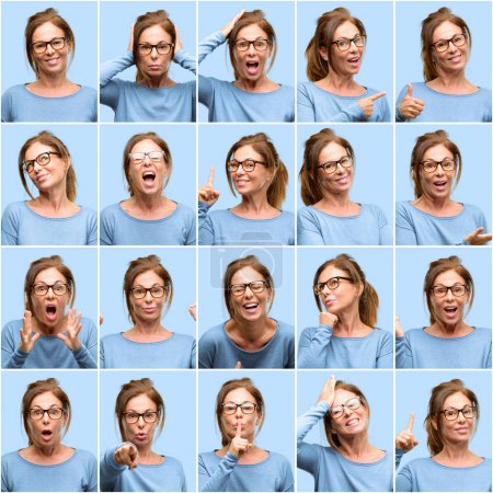 Middle age woman, diferent emotions collage over blue background