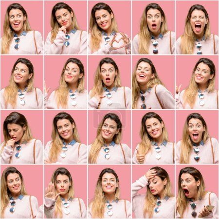 Photo for Young woman, diferent emotions collage over vintage pink background - Royalty Free Image