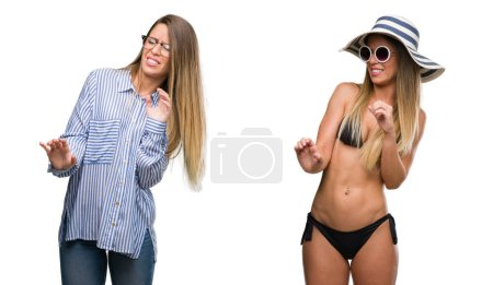 Young beautiful blonde woman wearing business and bikini outfits disgusted expression, displeased and fearful doing disgust face because aversion reaction. With hands raised. Annoying concept.