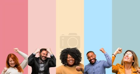 Photo for Cool group of people, woman and man happy and excited expressing winning gesture. Successful and celebrating victory, triumphant - Royalty Free Image
