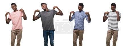 Photo pour Collage de l'homme afro-américain portant différentes tenues à l'air confiant avec le sourire sur le visage, se montrant du doigt fier et heureux . - image libre de droit
