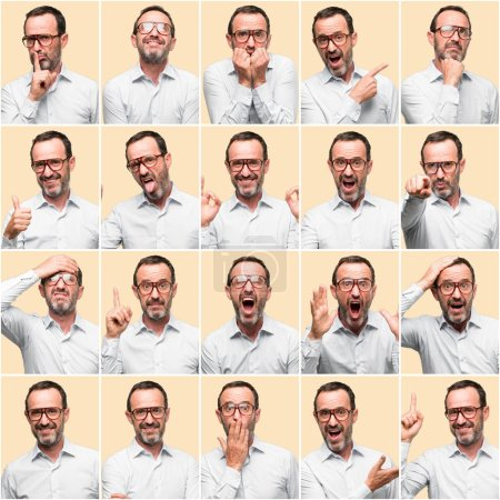 Photo for Middle age man, different emotions collage over yellow background - Royalty Free Image