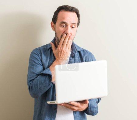 Photo pour Homme âgé utilisant ordinateur portable couvrir la bouche avec la main choqué par la honte pour erreur, expression de la peur, peur dans le silence, concept secret - image libre de droit