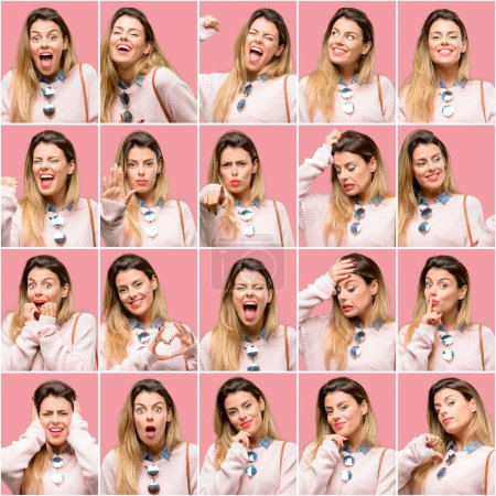 Young woman, diferent emotions collage over vintage pink background