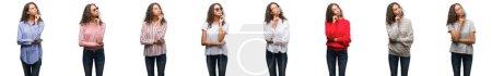Photo pour Composition de la jeune femme brésilienne isolée sur fond blanc avec la main sur le menton penser à la question, expression coûteuse. Souriant avec un visage réfléchi. Concept de doute . - image libre de droit