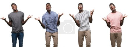 Collage of african american man wearing different outfits crazy and mad shouting and yelling with aggressive expression and arms raised. Frustration concept.