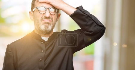 Priest religion man terrified and nervous expressing anxiety and panic gesture, overwhelmed