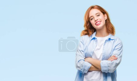 Photo for Young beautiful business woman over isolated background happy face smiling with crossed arms looking at the camera. Positive person. - Royalty Free Image