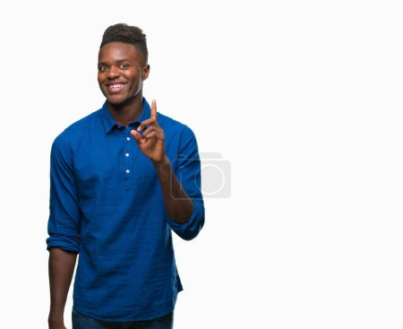 Photo for Young african american man over isolated background pointing finger up with successful idea. Exited and happy. Number one. - Royalty Free Image