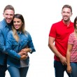 Collage of beautiful couple together over white is...