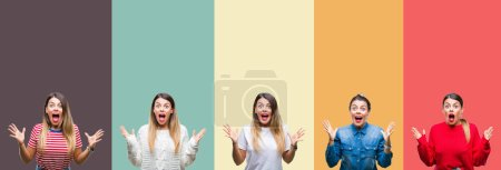 Photo for Collage of young beautiful woman over colorful vintage isolated background celebrating crazy and amazed for success with arms raised and open eyes screaming excited. Winner concept - Royalty Free Image