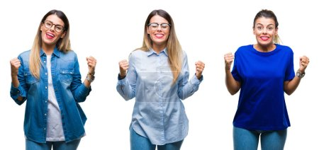 Collage of young beautiful woman wearing glasses over isolated background excited for success with arms raised celebrating victory smiling. Winner concept.