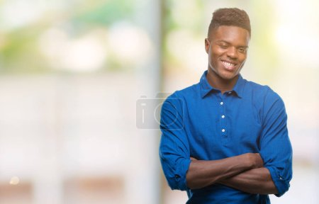 Photo for Young african american man over isolated background happy face smiling with crossed arms looking at the camera. Positive person. - Royalty Free Image